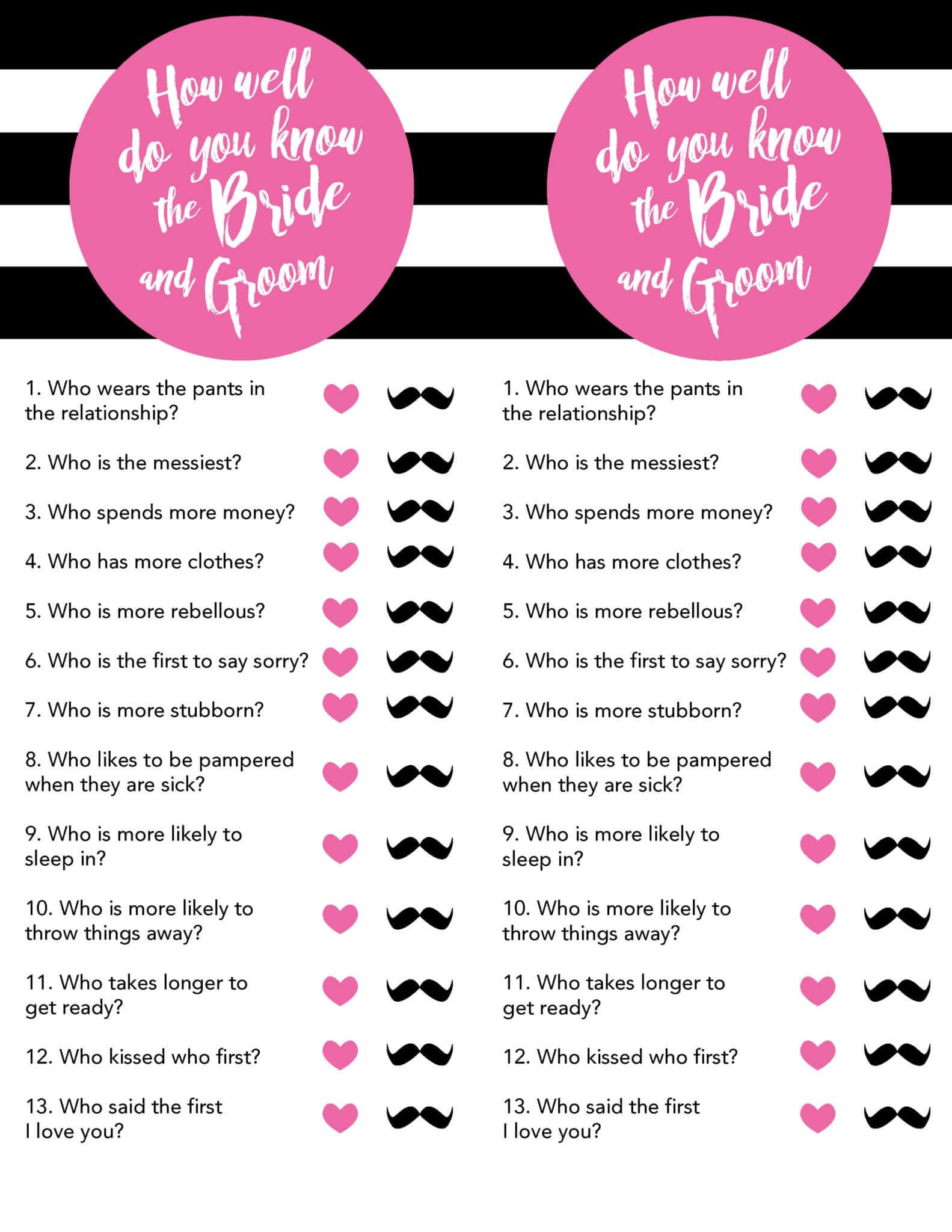Old Fashioned image in free printable wedding shower games