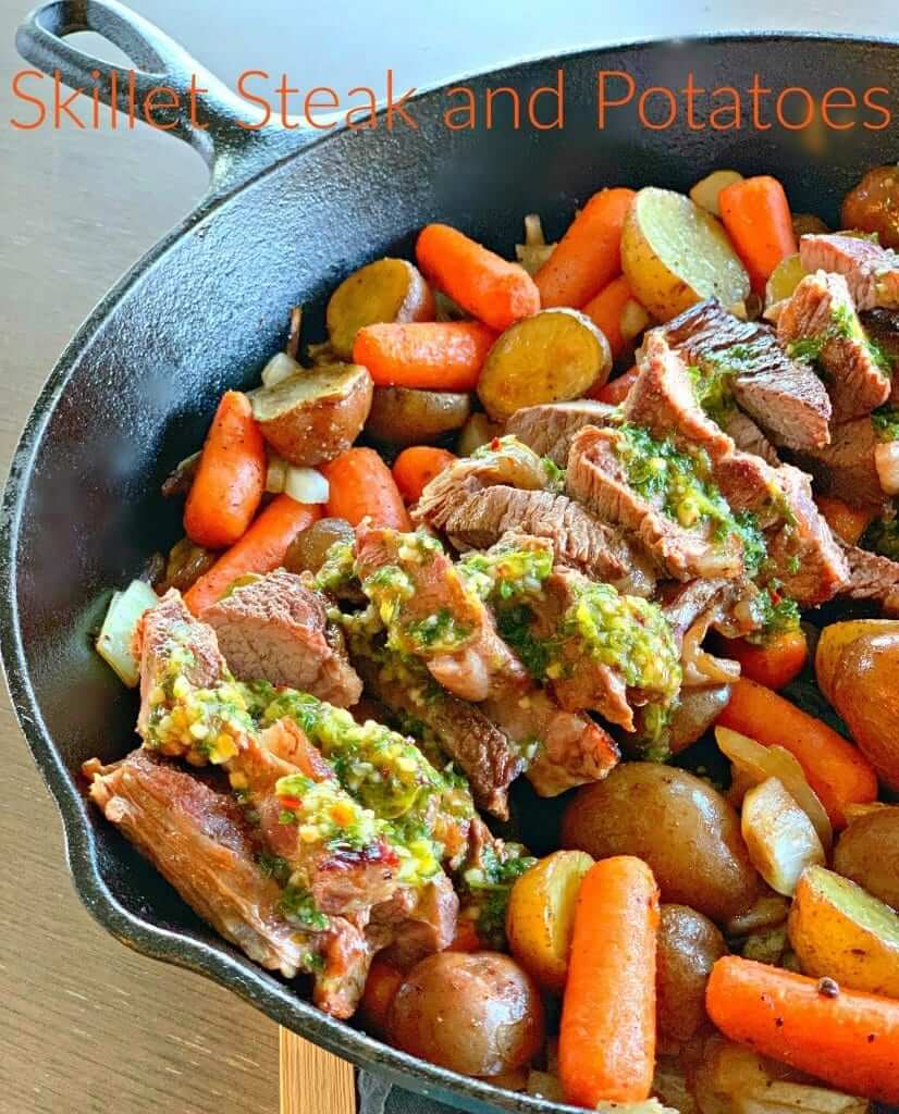 skillet steak with potatoes and carrots